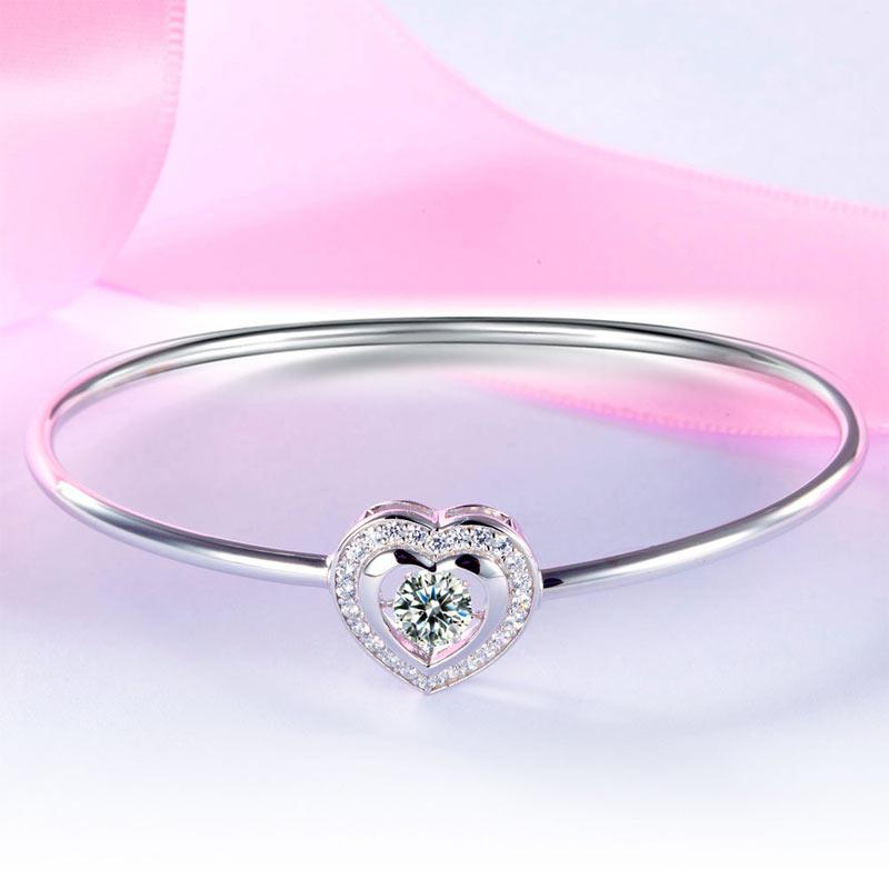 Dancing Stone Heart Bangle Solid 925 Sterling Silver Bridal Wedding