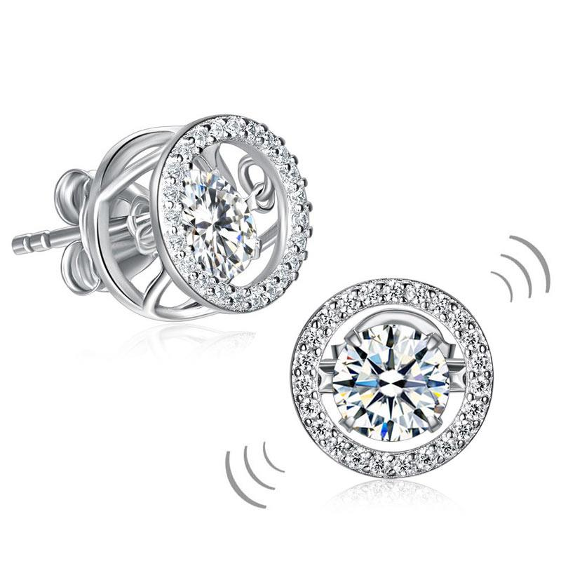 Dancing Stone Stud Earrings 925 Sterling Silver