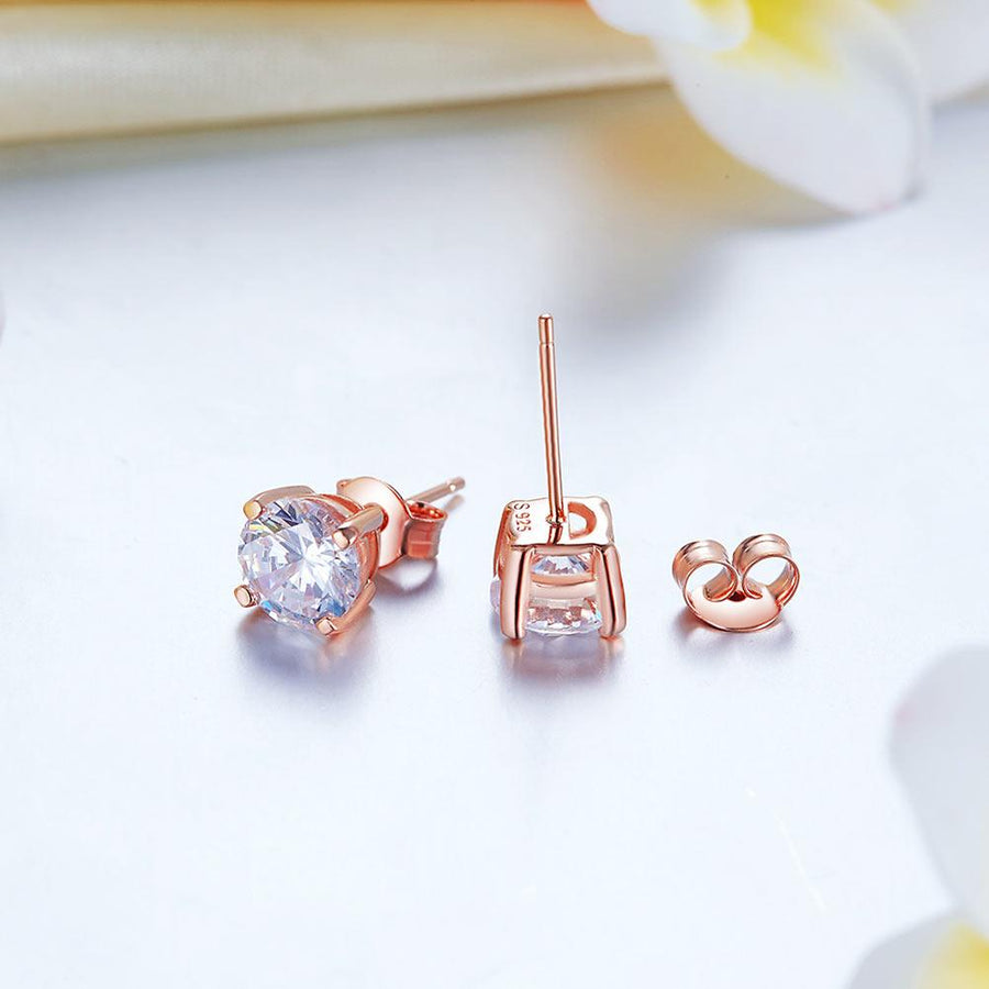 1 Carat Created Diamond Stud Earrings 925 Sterling Silver Rose Gold Plated