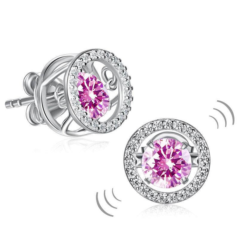 Dancing Pink Stone Stud Earrings 925 Sterling Silver