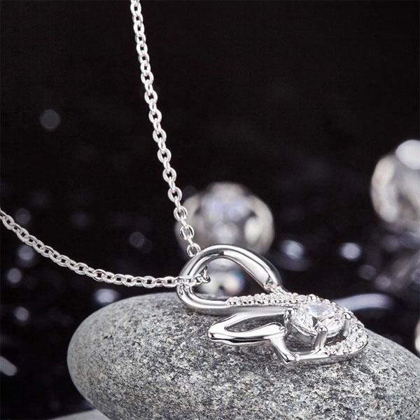 Swan Pendant Necklace 925 Sterling Silver Jewelry Created Diamond