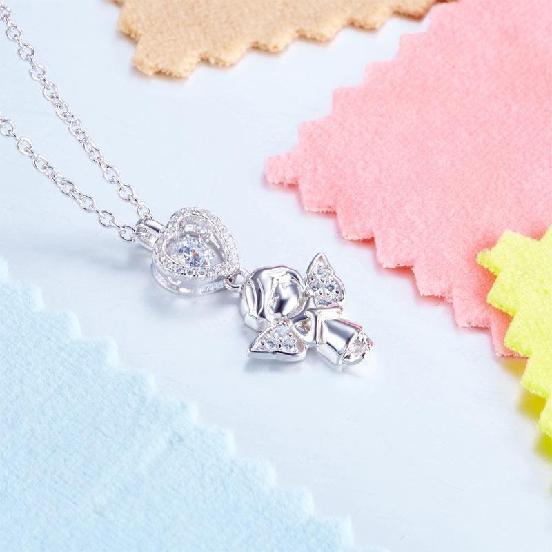 Angel Heart Dancing Stone Kids Girl Pendant Necklace Solid 925 Sterling Silver Children Jewelry