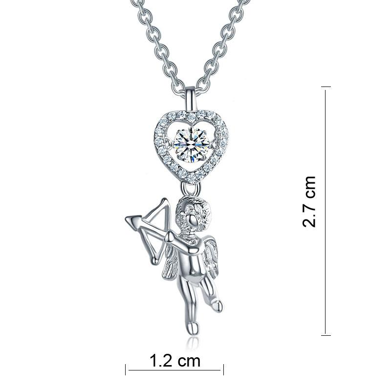 Love Angel Heart Dancing Stone Kids Girl Pendant Necklace 925 Sterling Silver Children Jewelry