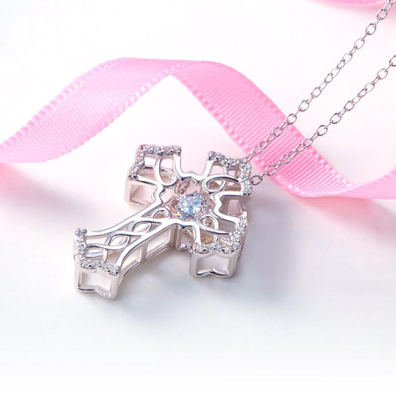 Vintage Style Cross Dancing Stone Pendant Necklace 925 Sterling Silver
