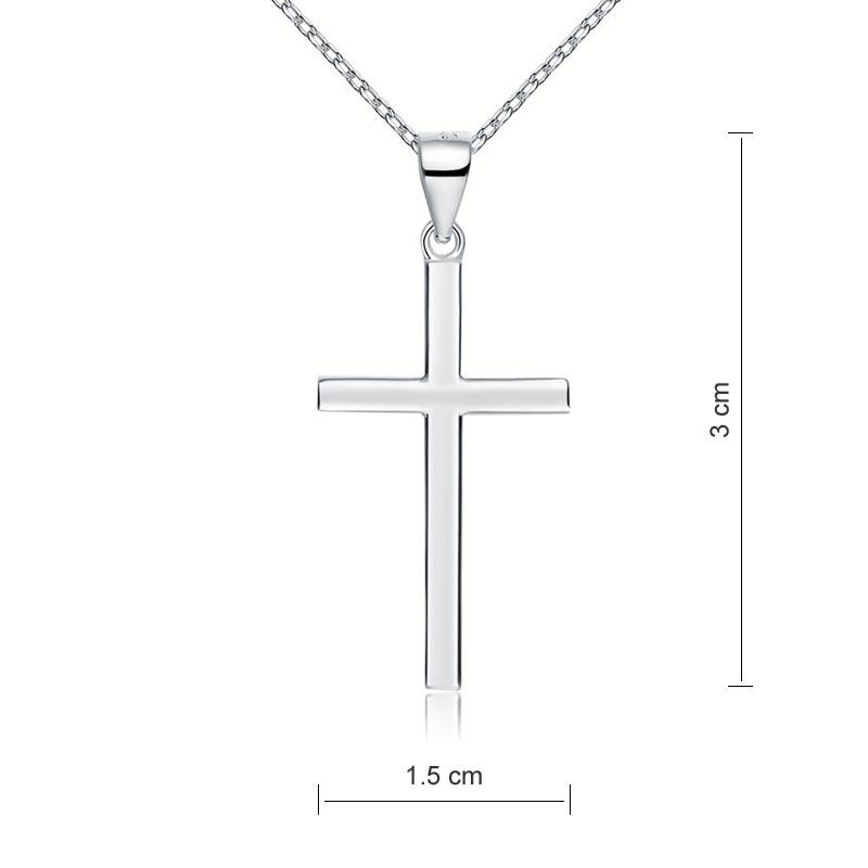 Cross Pendant Necklace Solid 925 Sterling Silver