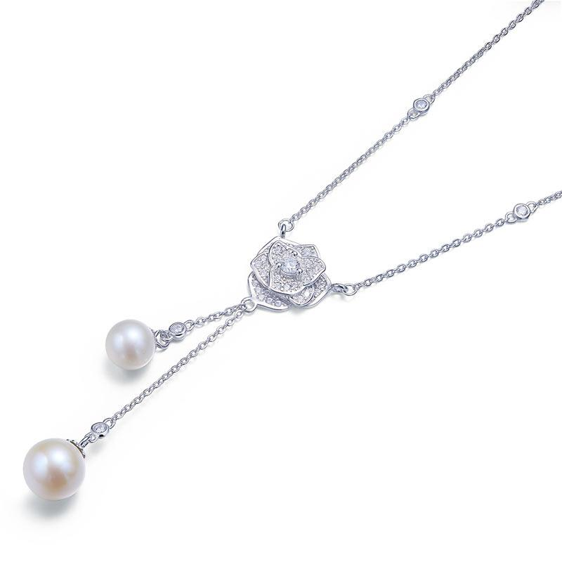 Rose Fresh Water Pearls Necklace 925 Sterling Silver