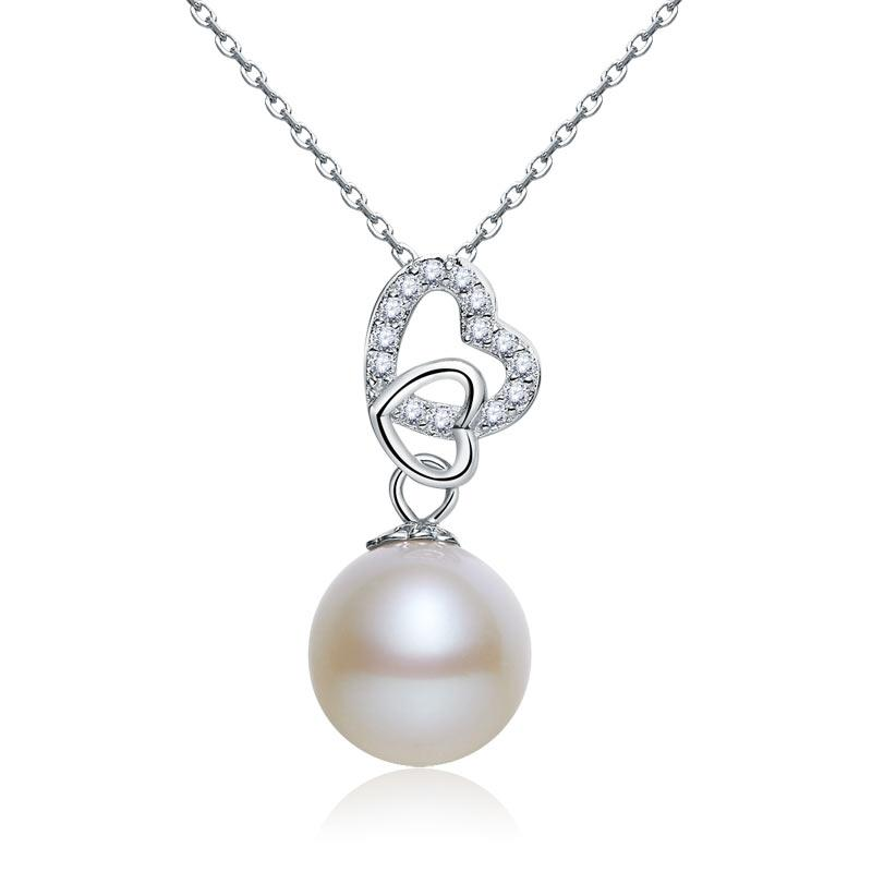 Fresh Water Pearl Heart Necklace 925 Sterling Silver