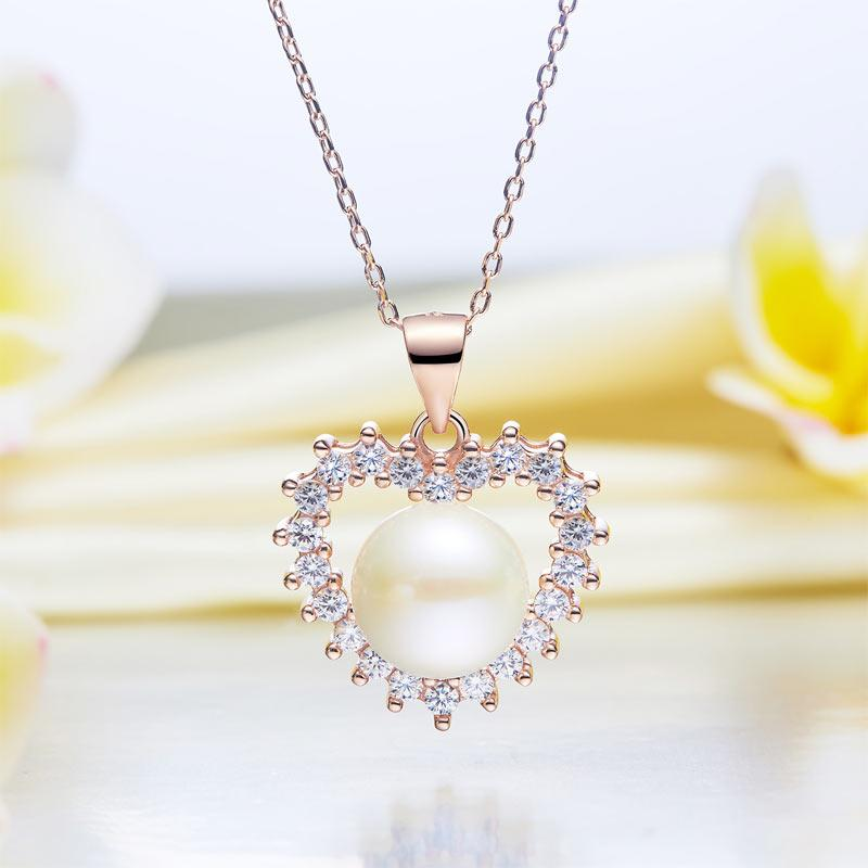 Fresh Water Pearl Heart Necklace 925 Sterling Silver with Rose Gold Plated