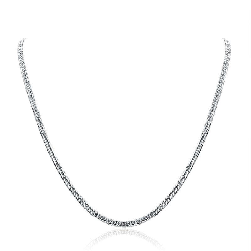 Men's Solid Silver Necklace 990 Pure Silver Cuban Link Chain