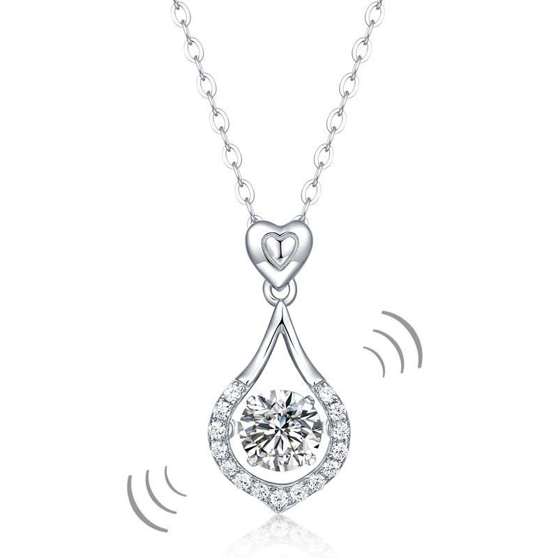 1 Carat Moissanite Diamond Dancing Stone Tear Drop Necklace 925 Sterling Silver