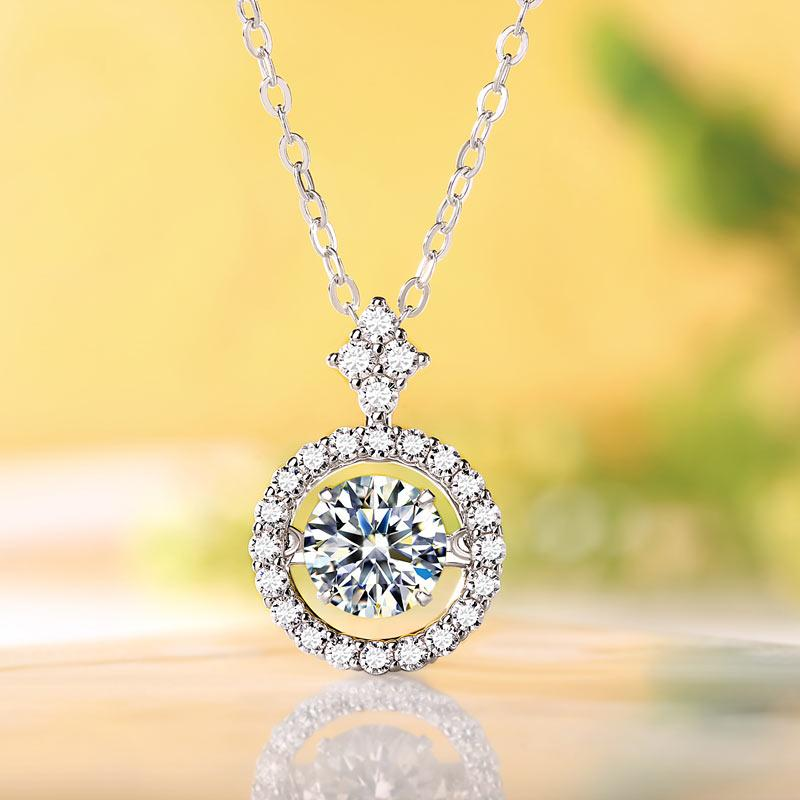 1 Carat Moissanite Diamond Dancing Stone Necklace 925 Sterling Silver