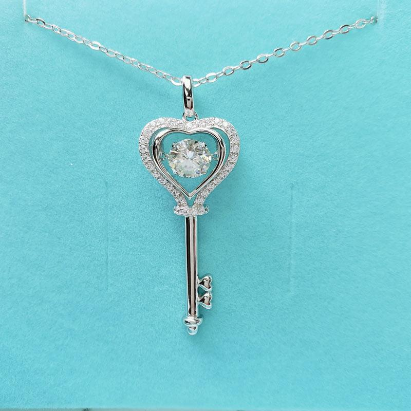1 Carat Moissanite Diamond Dancing Stone Key Necklace 925 Sterling Silver