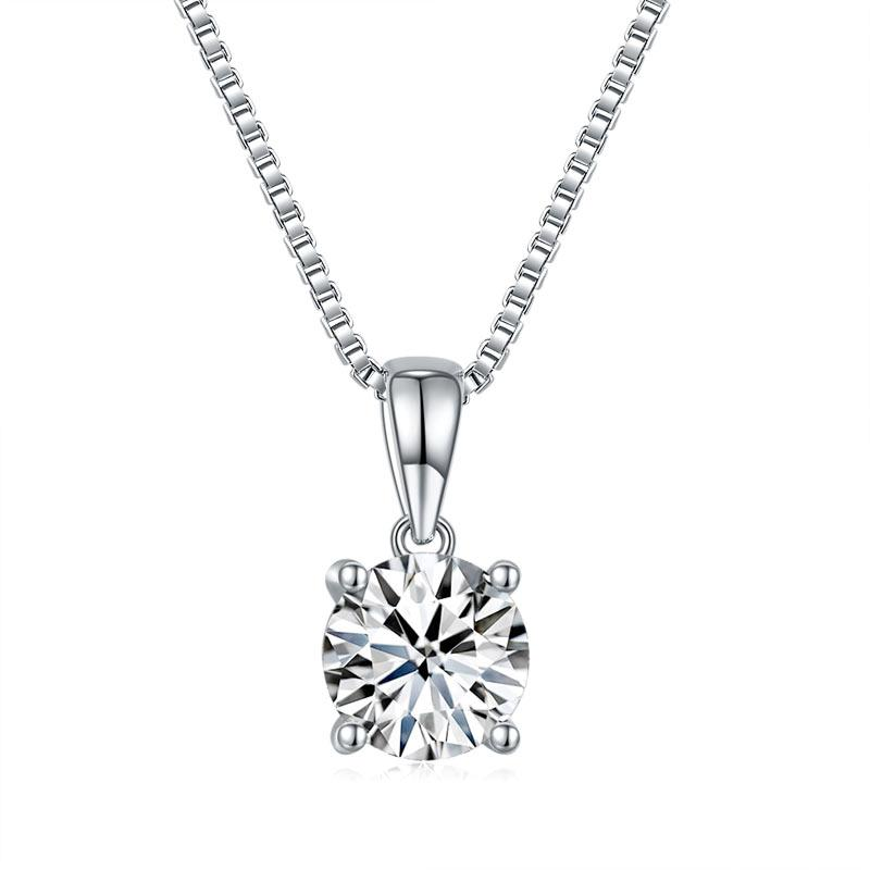 1 Carat Moissanite Diamond Pendant Necklace 925 Sterling Silver