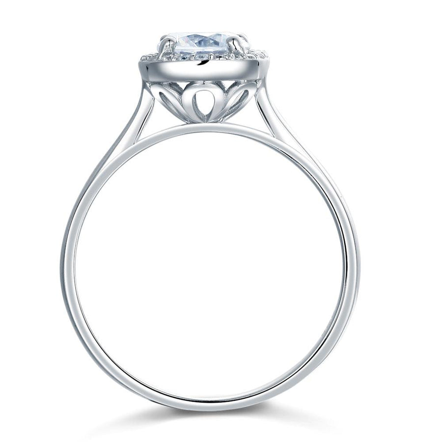 Solid 925 Sterling Silver Engagement Promise Ring Halo