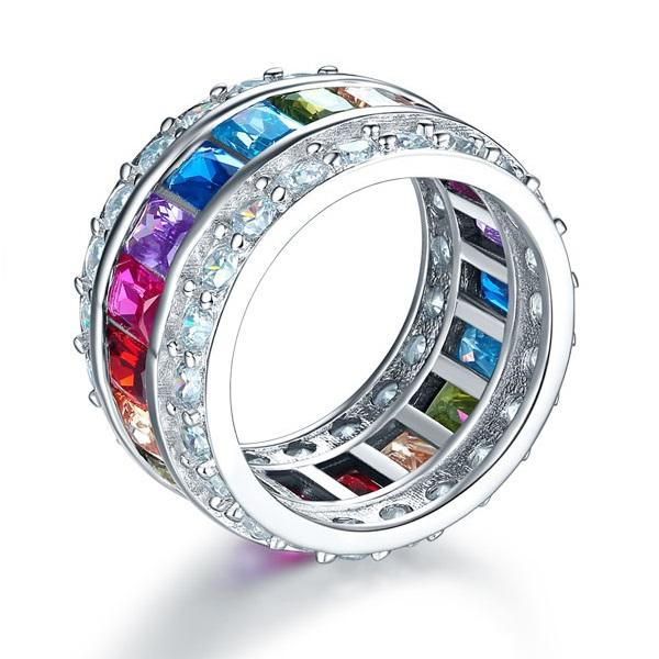 Multi-Color Created Topaz Band Wedding Anniversary 925 Sterling Silver Ring