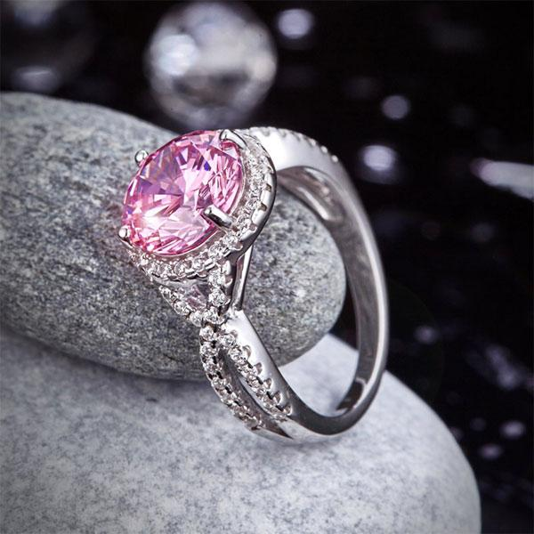 3 Carat Fancy Pink Created Diamond 925 Sterling Silver Wedding Engagement Luxury Ring Promise Anniversary