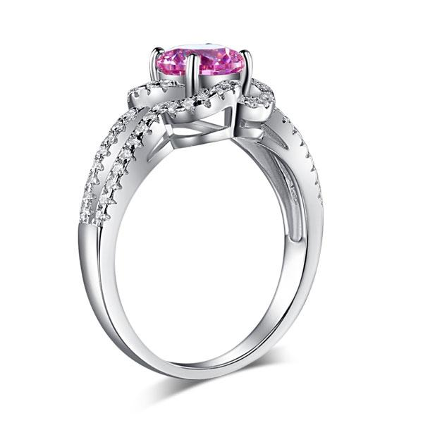 Floral 925 Sterling Silver Wedding Promise Anniversary Ring 1 Ct Fancy Pink Created Diamond Jewelry