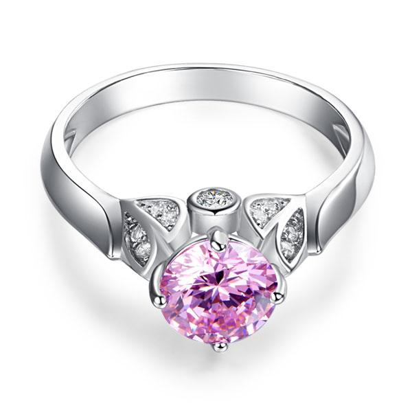 Flower 925 Sterling Silver Wedding Promise Anniversary Ring 1.25 Ct Fancy Pink Created Diamond Jewelry