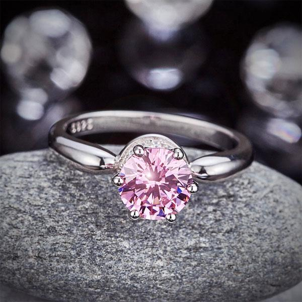 6 Claws Crown 925 Sterling Silver Wedding Promise Anniversary Ring 1.25 Ct Fancy Pink Created Diamond Jewelry