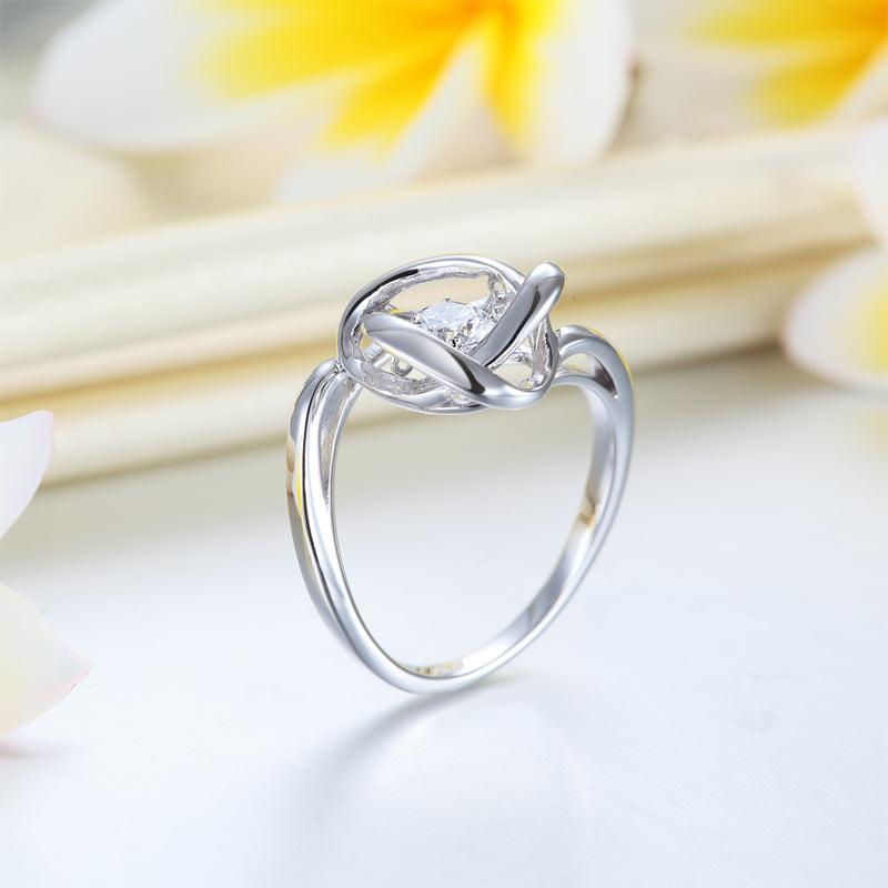 Dancing Stone Woven Solid 925 Sterling Silver Ring 2017 New Style