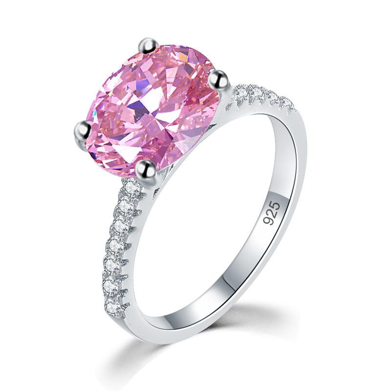 Solid 925 Sterling Silver 4 Carat Anniversary Ring Fancy Pink Oval Cut Luxury Jewelry