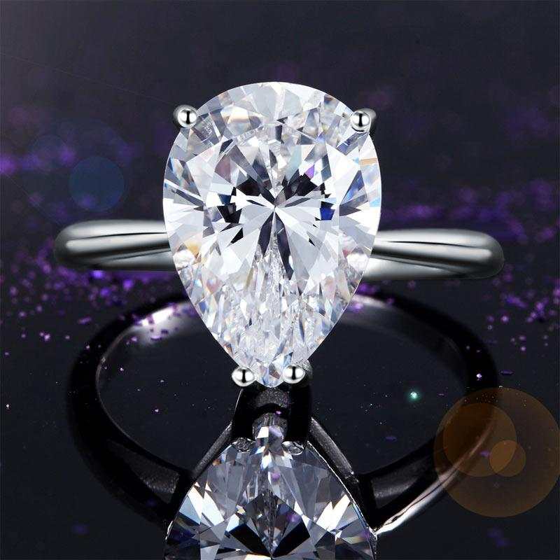Solid 925 Sterling Silver Luxury Ring Solitaire Pear 4.5 Carat Wedding Engagement Party Pageant Jewelry