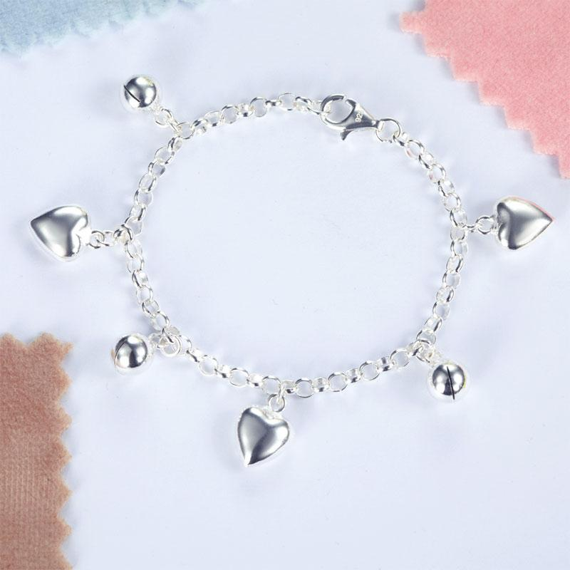 Solid 925 Sterling Silver Dangle Hearts Bracelet Baby Kids Girl Gift Children Jewelry