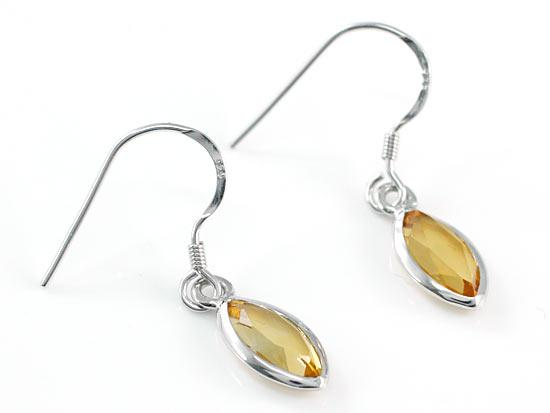 2 Carat Genuine Yellow Citrine 925 Sterling Silver Dangle Fine Earrings