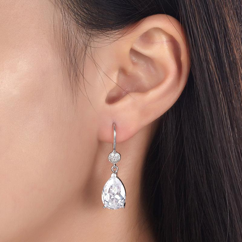 4 Carat Pear Cut Created Diamond 925 Sterling Silver Dangle Earrings