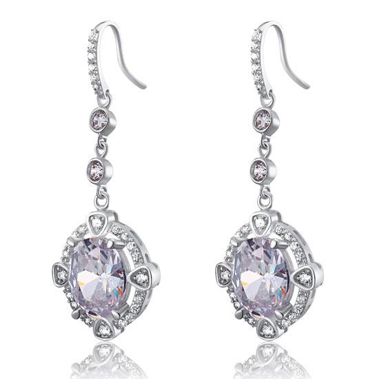 5 Carat Oval Dangle Sterling 925 Silver Bridal Wedding Earrings