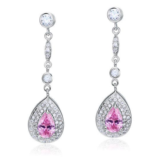 1.5 Carat Pear Cut Pink Created Sapphire 925 Sterling Silver Dangle Earrings