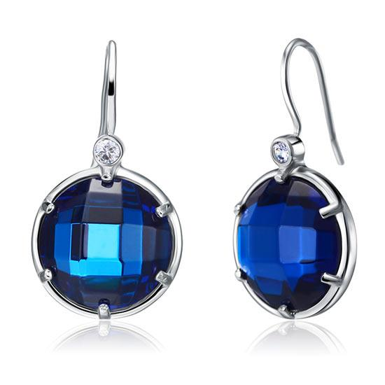Navy Blue Created Topaz Dangle Sterling 925 Silver Bridal Earrings