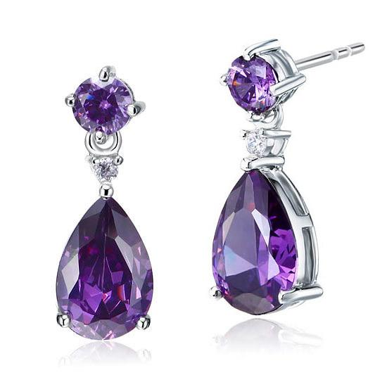 3 Carat Pear Cut Created Purple Sapphire 925 Sterling Silver Dangle Earrings