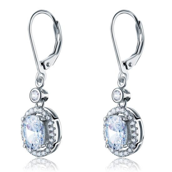 1.5 Carat Oval Cut Created Diamond 925 Sterling Silver Dangle Earrings