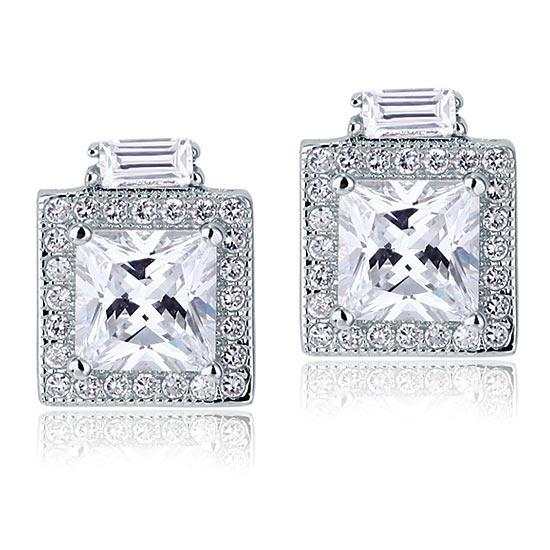 2 Carat Created Diamond Vintage Style Stud 925 Sterling Silver Earrings