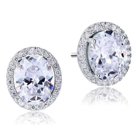 3 Carat Oval Cut Created Diamond Stud 925 Sterling Silver Earrings