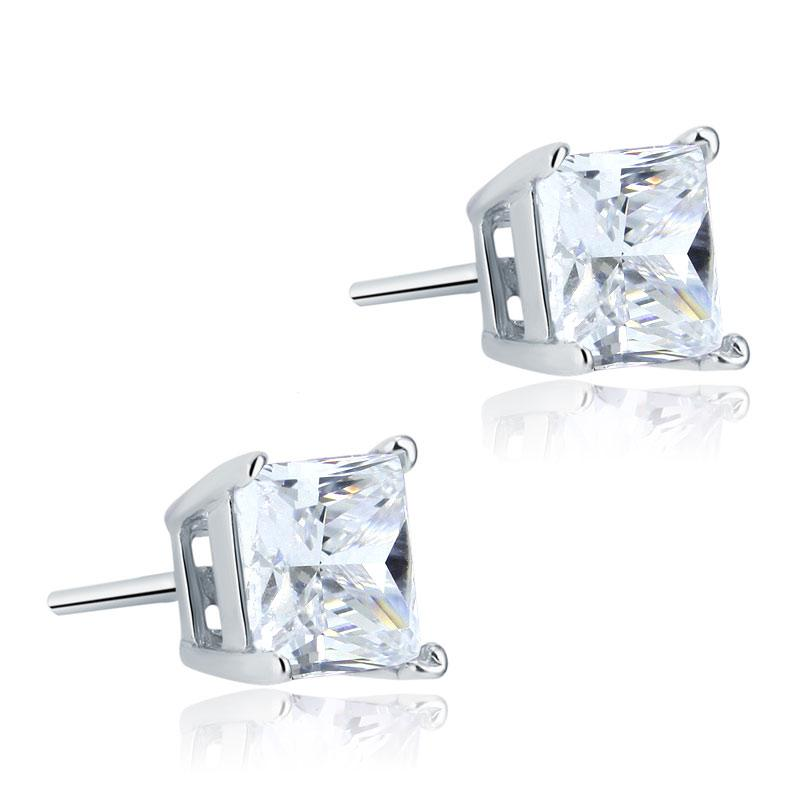925 Sterling Silver Stud Earrings 1 Carat Princess Cut Created Diamond