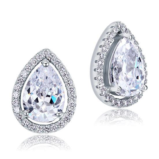 4 Carat Pear Cut Created Diamond Stud 925 Sterling Silver Earrings Jewelry