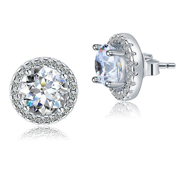2.5 Carat Halo (Removable) Stud Earrings 925 Sterling Silver Jewelry