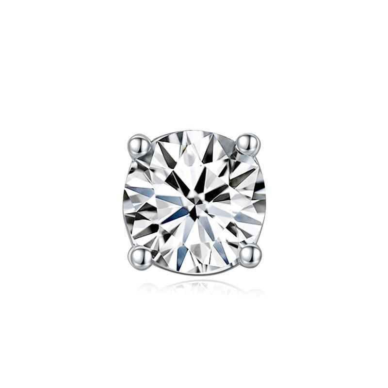 1 Carat Moissanite Diamond Men's Earrings (1 Piece) 925 Sterling Silver