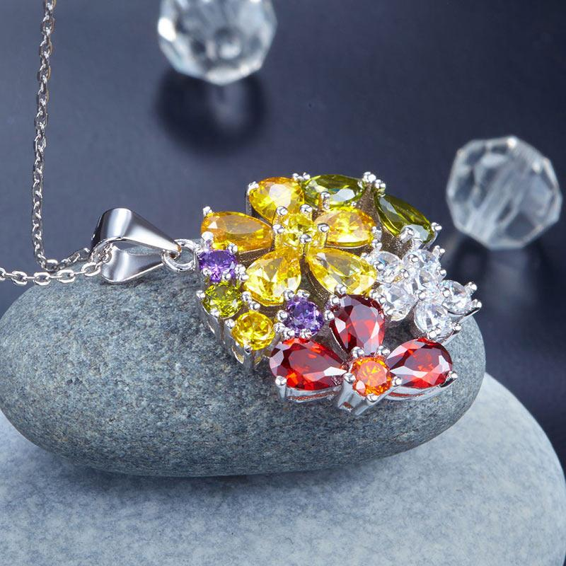 3.5 Carat Multi-Color Created Topaz Flower 925 Sterling Silver Pendant Necklace