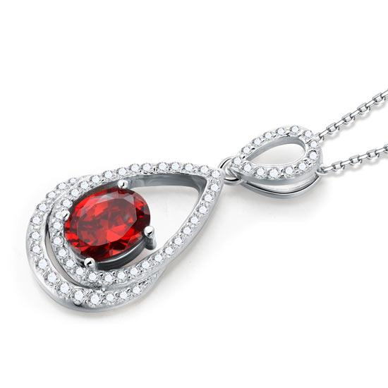 2 Carat Oval Cut Red Created Ruby Sterling 925 Silver Pendant Necklace