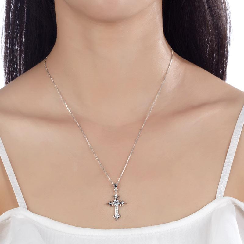 925 Sterling Silver Cross Pendant Necklace Round Cut Created Diamond Jewelry