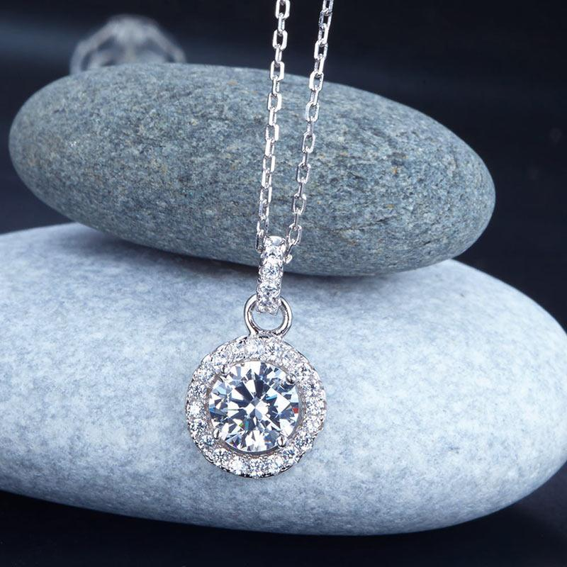 1 Carat Round Cut Created Diamond Bridal 925 Sterling Silver Pendant Necklace