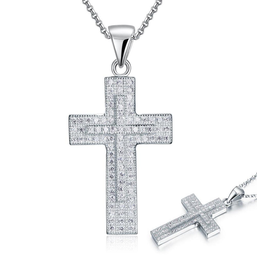 Micro Setting Cubic Zirconia 925 Sterling Silver Cross Pendant Necklace