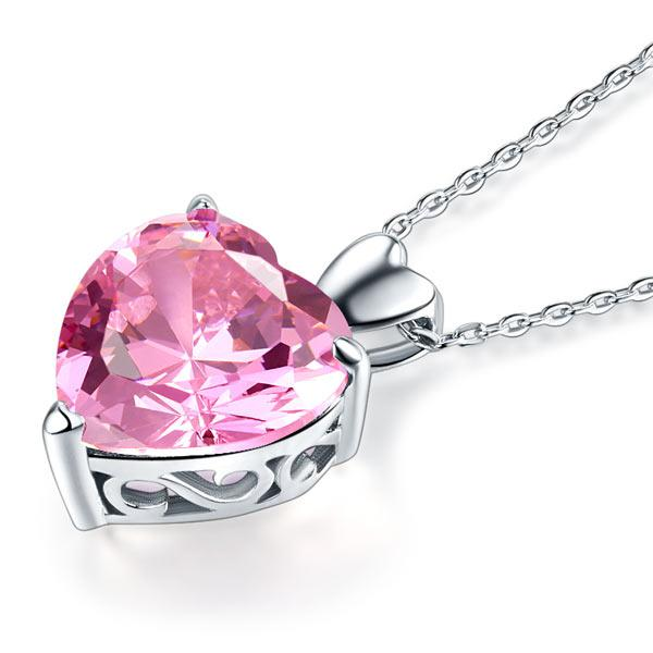 925 Sterling Silver Bridesmaid Heart Pendant Necklace 5 Carat Pink Bridal Jewelry