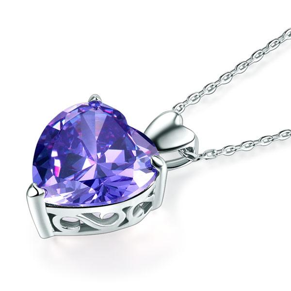 925 Sterling Silver Heart Pendant Necklace 5 Carat Purple Bridal Jewelry