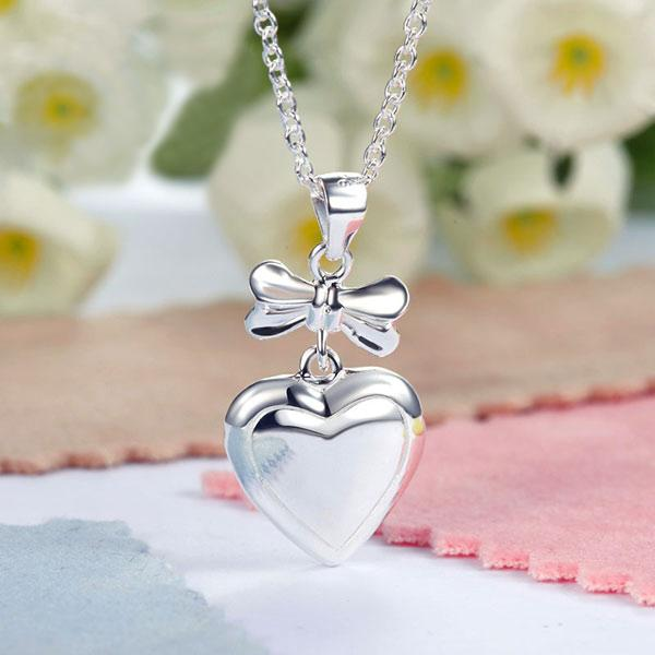 Kids Girl Ribbon Heart Pendant Necklace 925 Sterling Silver Children Jewelry