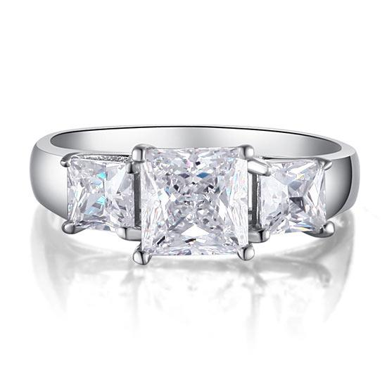 1.5 Carat 3-Stones Created Diamond 925 Sterling Silver Wedding Anniversary Ring