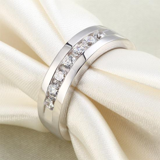 Men's Wedding Band Solid Sterling 925 Silver Created Diamond Ring